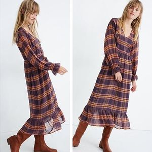 NWT Madewell Sheer Plaid Full-Sleeve Ruffle Dress